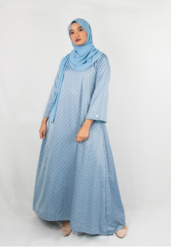 Zaryluq grey and blue Kaftan Dress in Blue Bell C8129AA382300BGS_1
