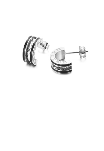 Glamorousky silver Fashion Simple Roman Numerals Black Edge Geometric Semicircle 316L Stainless Steel Stud Earrings 75230ACC972CD4GS_1