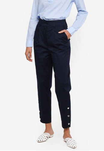 OVS navy Stretch Crop Trousers With Crease 219ECAA97EAED9GS_1