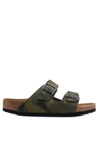 Birkenstock green Arizona Desert Soil Camou Soft Footbed Sandals 6D50ASHA30BA9FGS_1