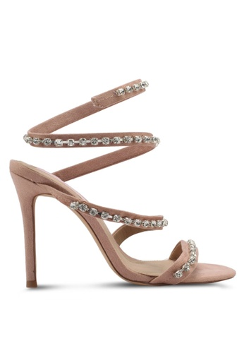 MISSGUIDED pink Carli Bybel Jewel Wrap Around Sandals MI511SH0SP7UMY_1