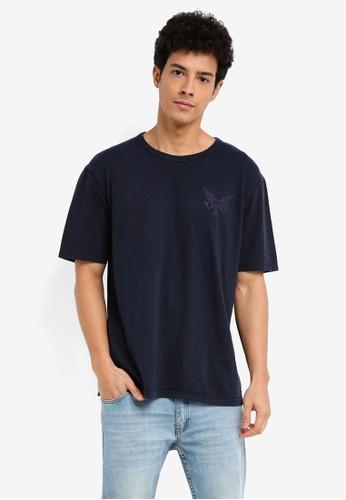 MANGO Man 藍色 短袖印花T恤 4FD26AADD4C8E5GS_1
