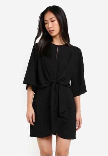 TOPSHOP black Knot Front Mini Dress TO412AA0SBQRMY_1