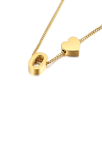 Glamorousky silver Fashion and Simple Plated Gold Heart-shaped English Alphabet O 316L Stainless Steel Pendant with Necklace AAB31AC981BAC9GS_1