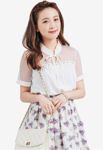 YOCO white High Collar Blouse with Pussy Bow A5615AA7B0C06EGS_1