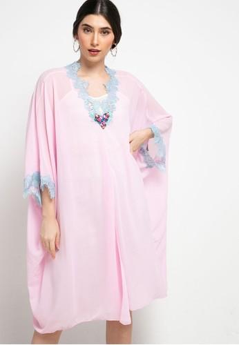 Luire by Raden Sirait pink Fm Dress V Cetar Midi Cx 046EDAAA43D0A1GS_1