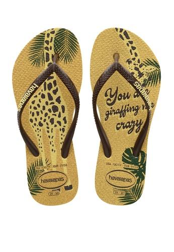 Havaianas yellow Kids Slim Glitter Flip Flops 4F245KSCA708FDGS_1