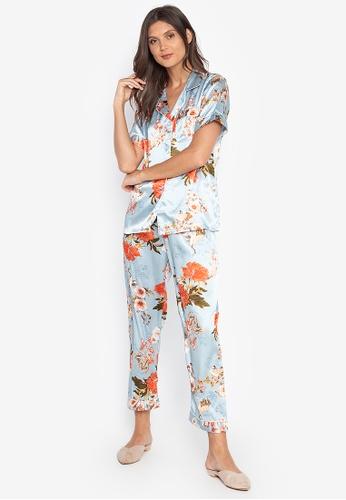 FEMINISM blue Shortsleeve Pajama Set 444CCAA6A78987GS_1