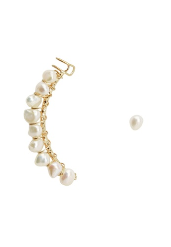 Mango gold Pearl Ear Cuff Earrings 1E916AC68D2316GS_1