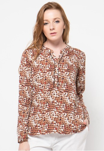 Raspberry brown Alexa Long Sleeve Blouse RA572AA75OUUID_1
