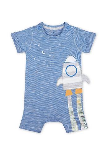 Mothercare blue Mothercare Baby blue space dinosaur rocket romper - Terusan Bayi Multicolour E0CA4KA6890F15GS_1
