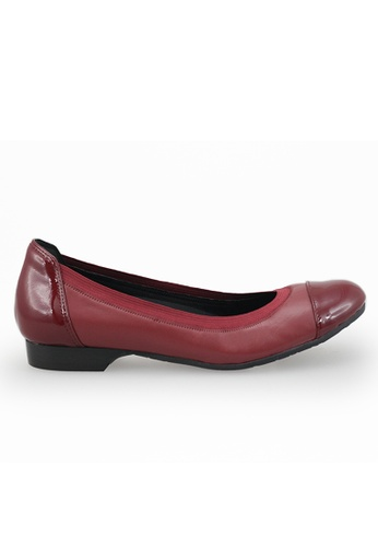 Shu Talk red Stylish simply Bi Leather Ballet Flats SH397SH0H9SJSG_1