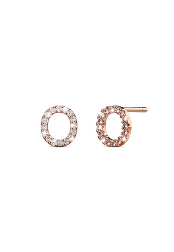 925 Signature silver 925 SIGNATURE Solid 925 Sterling Silver Glamour Alphabet Letter Earrings Rose Gold - O D4B5AAC4886802GS_1