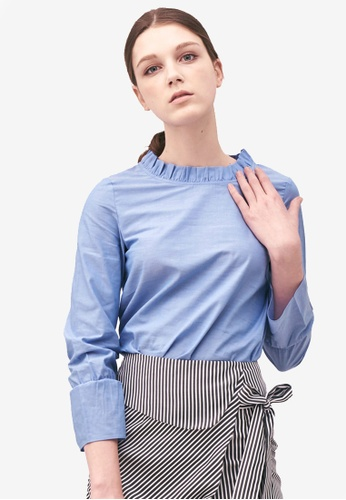 Kodz blue Ruffle Collar Top BE34FAA050FE2CGS_1
