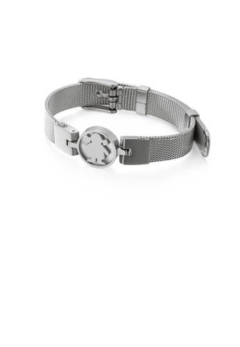 Glamorousky silver Simple and Elegant Geometric Round Girl Mesh Belt 316L Stainless Steel Bracelet 42205ACD121C7EGS_1