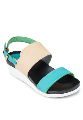 拼色踝帶厚底涼鞋, 女zalora鞋鞋, 涼鞋