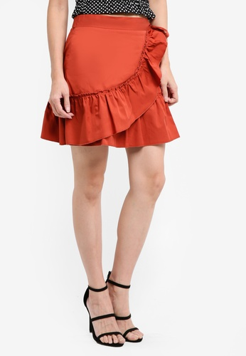 cef052fd2 Buy River Island Poplin Frill Wrap Mini Skirt Online on ZALORA Singapore