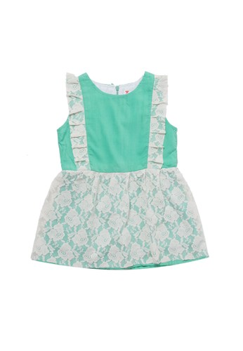 Tiny Button green Girl Brocade Floral Standart Dress DBDCCKAF1C2E8DGS_1