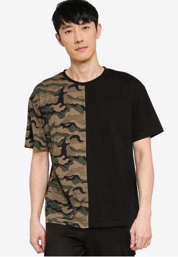 ZALORA BASICS green and multi Camo Block Oversized T-Shirt 3BCACAAF9AFE05GS_1