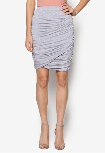抓褶esprit 台北裹飾貼身短裙, 服飾, 服飾