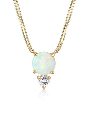 ELLI GERMANY gold Elli Germany Geo Circle Zirconia Opal 925 Silver Gold Plated Necklace E549EAC6D6F9D0GS_1