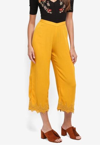 Miss Selfridge yellow Crochet Crop Trousers CCA96AAA1E6565GS_1