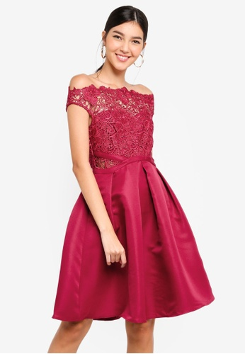 4ca1443bed Buy Little Mistress Berry Lace Skater Dress Online on ZALORA Singapore