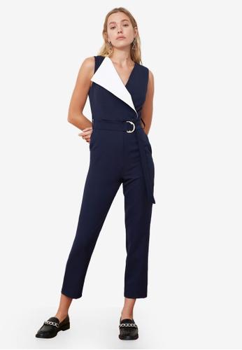 Trendyol navy Wrap Belted Jumpsuit 6CE2BAAC287B27GS_1
