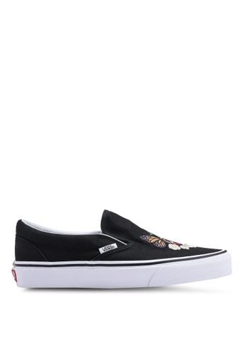 VANS black Classic Checker Floral Slip-Ons 7AB8BSHFA8E8C2GS_1