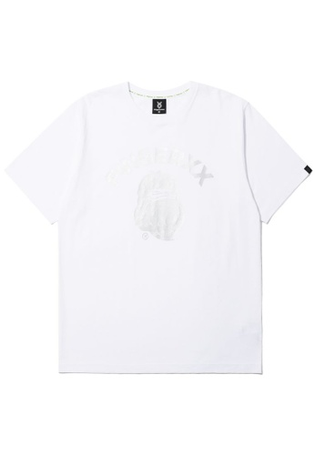 Fingercroxx white Bigfoot tonal print tee FF097AAB5AC01CGS_1