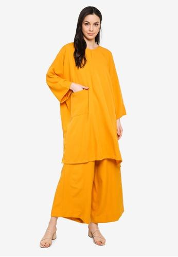 Butik Sireh Pinang yellow Mawar Blouse Loose Pocket Suit D0FA8AAF84E61AGS_1