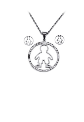Glamorousky white Simple and Cute Hollow Boy Geometric Round 316L Stainless Steel Necklace and Stud Earrings Set with Cubic Zirconia B7641AC8763A5AGS_1
