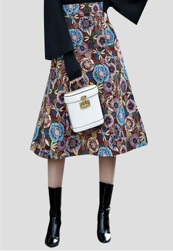 提花印花A字裙esprit童裝門市, 服飾, 及膝裙