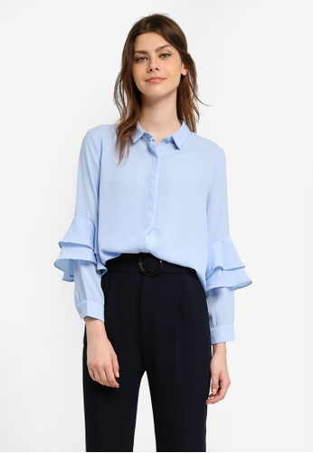 Zalia blue Layered Sleeve Shirt 9D463AA4403402GS_1