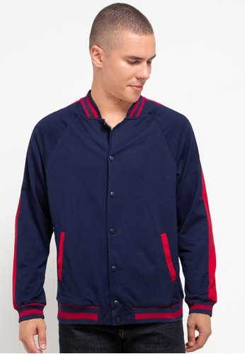 Tolliver red and navy Sleeve Lining Varsity Jacket 1BB90AAE8127B9GS_1