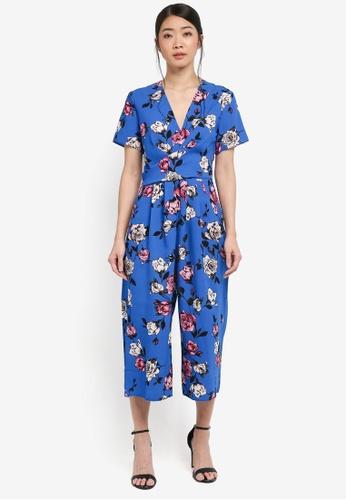 Miss Selfridge multi Blue Print Twist Jumpsuit 4D83AAAE42F0BEGS_1