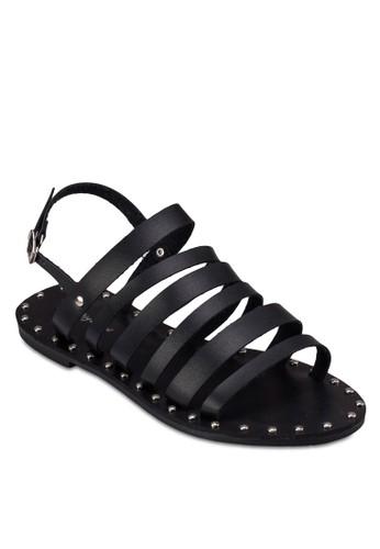 多帶鉚zalora 折扣碼釘平底涼鞋, 女鞋, 涼鞋