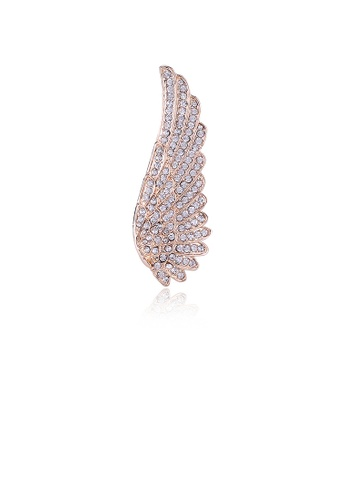 Glamorousky white Fashion Simple Plated Gold Wings Brooch with Cubic Zirconia 565D4AC5F5DF50GS_1