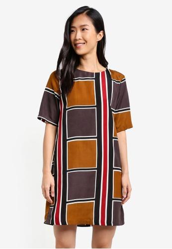 ZALORA multi Geo Print Shift Dress 32AA3ZZ53774E1GS_1
