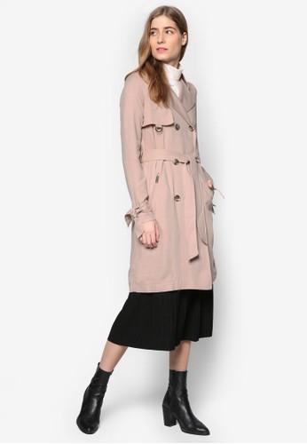 esprit旗艦店雙排鈕長版風衣外套, 服飾, 風衣