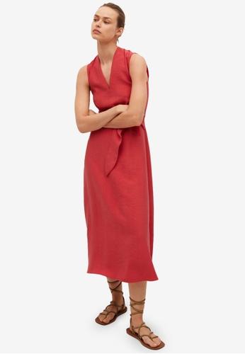 Mango red Belt Lyocell Dress 86B66AA3484B73GS_1