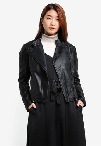 ZALORA black PU Jacket 01CC9ZZ439C40DGS_1