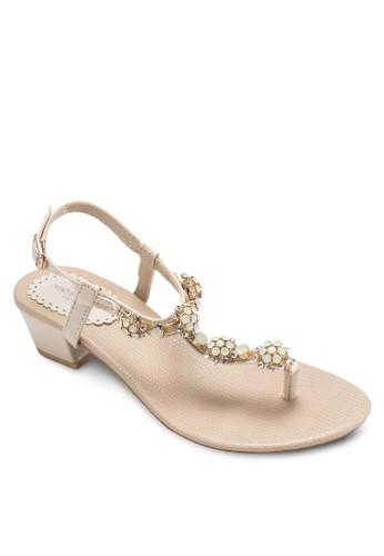 閃飾夾腳繞踝涼鞋,esprit outlet 家樂福 女鞋, 細帶高跟鞋