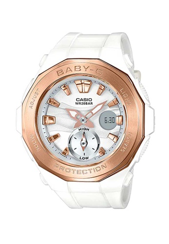 CASIO white Casio Baby-G Rose Gold and White Resin Watch E950BAC07FD1D9GS_1