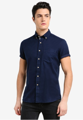UniqTee navy Flannel Short Sleeve Shirt With Contrasting Buttons 07F70AA1FBE877GS_1