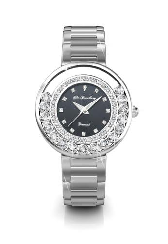 Her Jewellery black Swarovski® Crystals - Glamour Watch (Black) (18K White Gold Plated) Her Jewellery HE581AC0RDP4MY_1