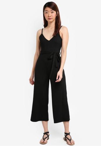 Miss Selfridge black Black Ribbed Culottes Jumpsuit 6421BAA28AD801GS_1