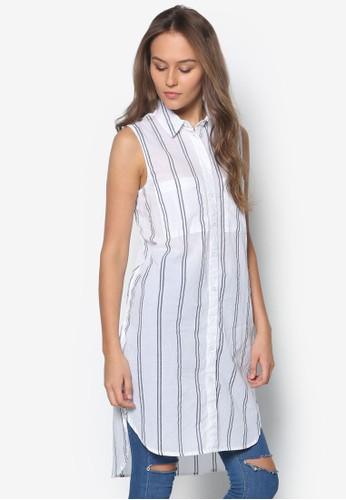 條紋長版無袖襯zalora 衣服尺寸衫, 服飾, 上衣