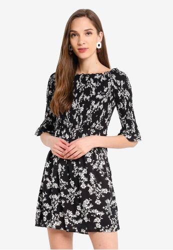 LC Waikiki black Floral Strapless Viscose Dress 84B16AA76A7FD5GS_1