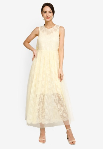 Hopeshow yellow Sleeveless Lace Midi Dress C7E3DAA06D50DFGS_1